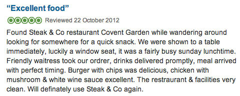 TripAdvisor Steak and Co London